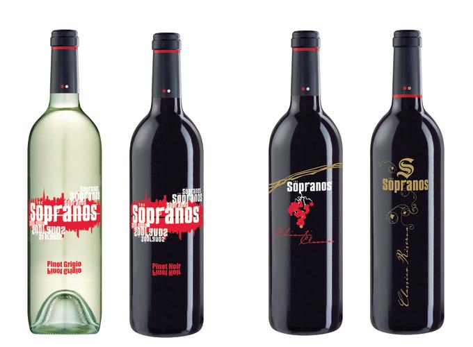 Sopranos wine label design Pinot Noir and Pinto Grigio