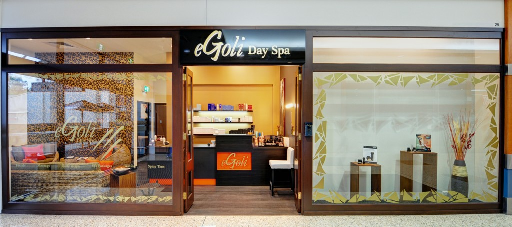 eGoli Day Spa window graphic design