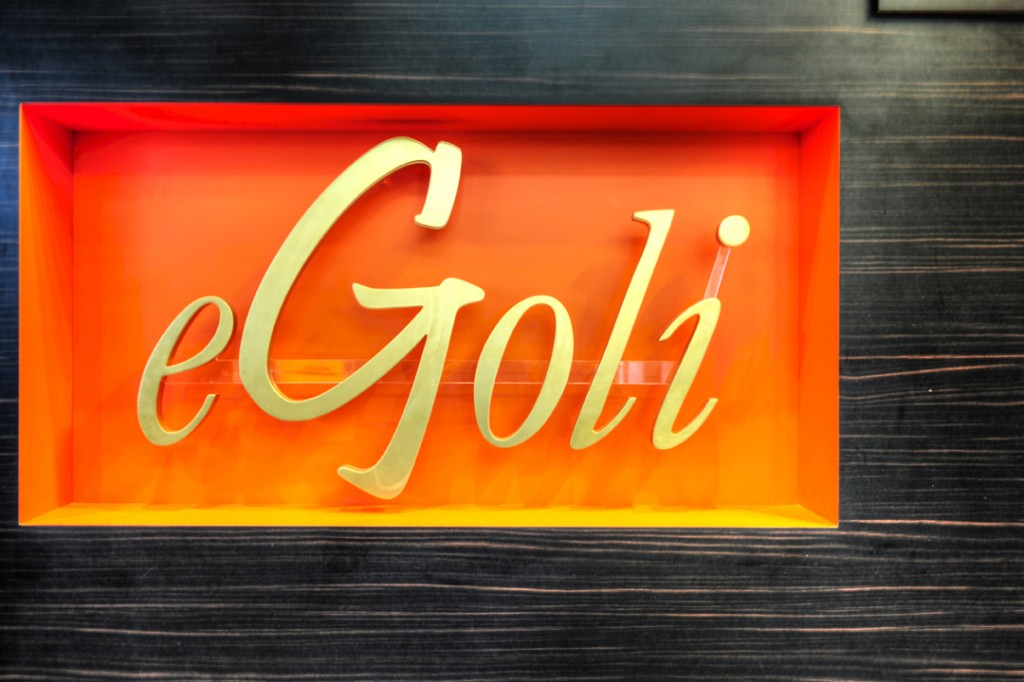 eGoli Day Spa front counter design and logo