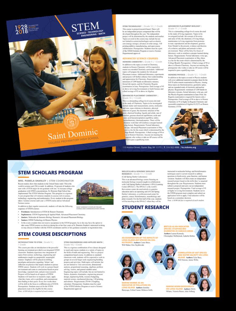 St. Dominic High School branding and marketing materials