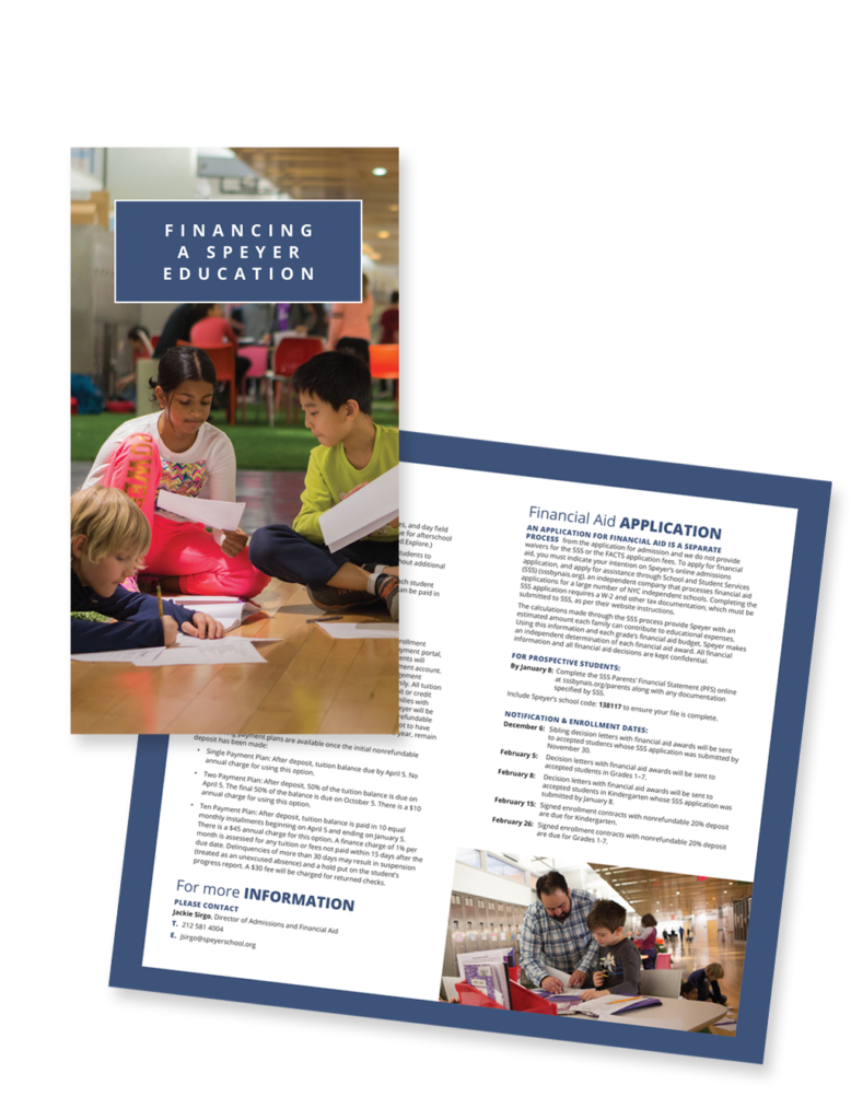 Speyer School NYC marketing materials - Financial Assist brochure